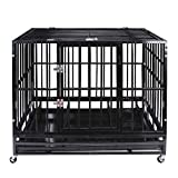 37'' Heavy Duty Pet Dog Cage Strong Metal Crate Kennel Playpen w/Wheels&Tray