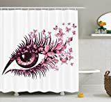 Black White and Pink Shower Curtain Pink Shower Curtain Set Butterflies Decor by Ambesonne, Female Eye with Butterfly Eyelashes Mascara Makeup Party Celebration, Bathroom Accessories, With Hooks, 69W X 70L Inches, Pink White Black