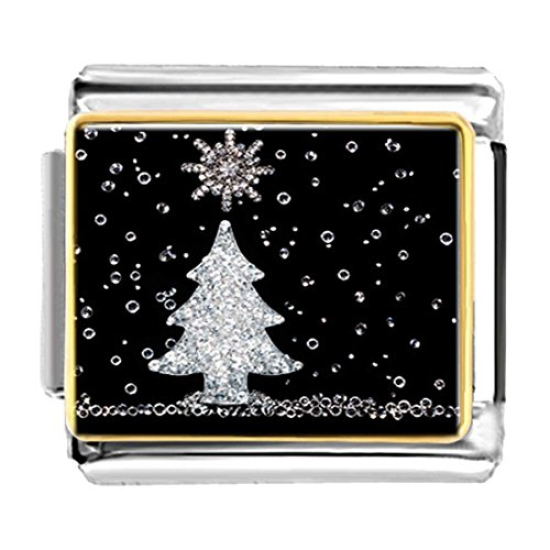 GiftJewelryShop Gold Plated Christmas Tree Bracelet Link Photo Italian Charms