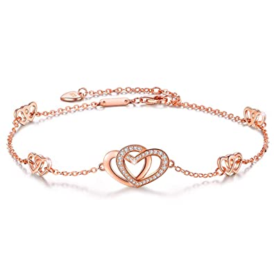 90ee09fdff8 ANGELFLY Anklets for Women S925 Sterling Silver Hotwife Womens Infinity  Heart Foot Cute Rose Gold Adjustable
