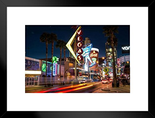 Photo Las Vegas Hotel - Poster Foundry Downtown Las Vegas Nevada at Night Neon Signs Photo Art Print Matted Framed Wall Art 26x20 inch