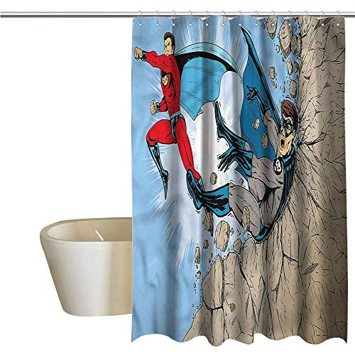 Denruny Shower Curtains Teal and Brown Superhero,Comic Style Villian Hero,W72 x L72,Shower Curtain for Girls Bathroom -