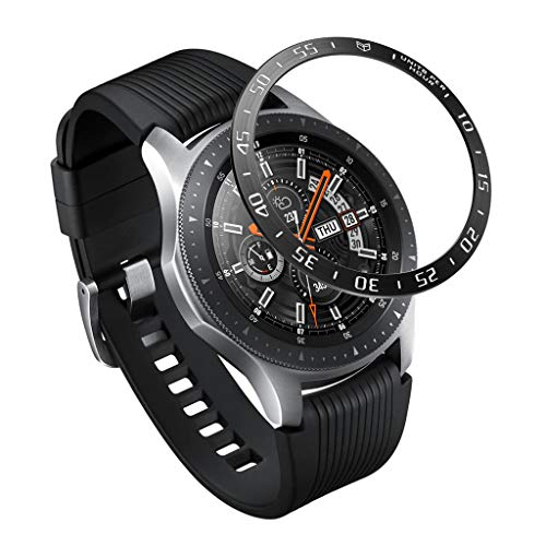 Finedayqi ❤ for Samsung Galaxy Watch 46MM Scale Watch Ring Adhesive Cover Anti Scratch Metal (Black)