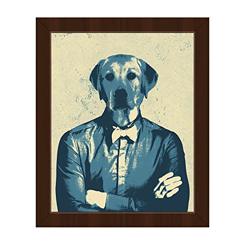 Labradude Yellow: Anthropomorphic Retro Pop-Art of Man with Labrador Dogs Head Wall Art Print on Canvas with Espresso Frame