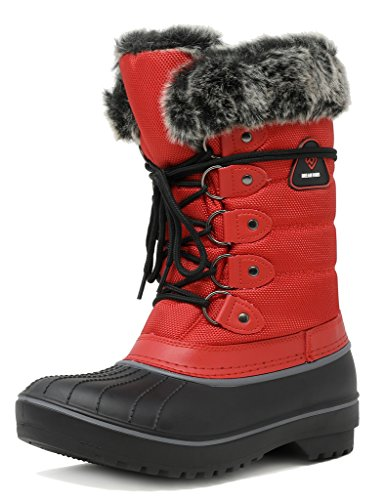TRAUM-PAAR-Frauen DP-Kanada Kunstpelz gefütterte mittlere Kalb-Winter-Schnee-Aufladungen rot