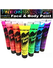 Uv Neon Glow Blacklight Face And Body Paint - Set Of 7 x 15ml Tubes