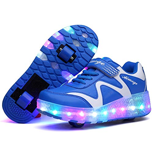 GzPuluz Skating Shoes 786 LED Light Ultra Light Rechargeable Double Wheel Roller Skating Shoes Sport Shoes, Size : 36(Pink) (Color : Blue)