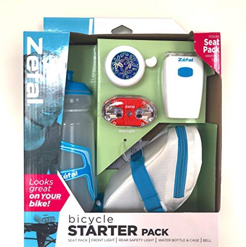 Zefal Bicycle Starter Kit Seat Pack, Front & Rear Light, Water Bottle and Cage, Bell. (Cycling Starter Kit)