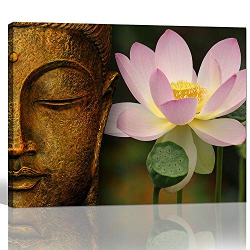 (sechars - Buddha Canvas Wall Art Pink Lotus Flower Picture Canvas Prints Gold Buddha Painting for Home Living Room Office Decor Peaceful Zen Artwork Ready to Hang )