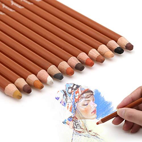 - Dainayw Skin Tone Pastel Pencils, Soft 5mm Core, Premier Colored Pencils for Artist Drawing, Sketching - 12 Piece Portrait Set