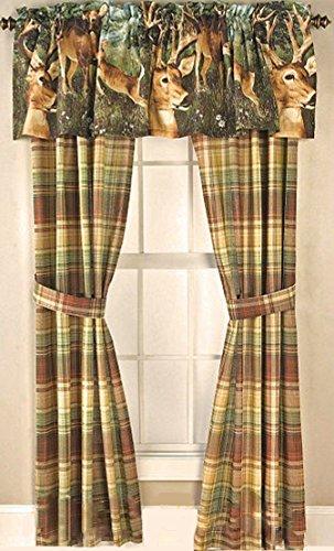 Cabin Lodge Rustic Brown Tan PLAID Drapery Window Treatment 4pc Unlined Drapes Set 84