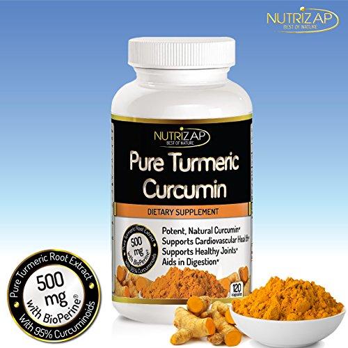 Премиум Куркума Куркумин Extract капсул Nutrizap: Включает в себя Bioperine для улучшения потенции: Поддерживает колено и боли в суставах облегчением: 500 мг на порцию: 120 капсул: Сделано в США