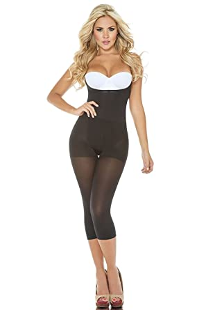 932ac6b553 Amazon.com  Cocoon LIGHT COMPRESSION Thermal Braless Long Leg Body Briefer Capri  Shaper Butt Lift Crotchless REF  COC1386  Clothing