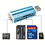 USB2.0 All in1 Memory Card Reader for Micro SD SDHC MS TF T-Flash M2 SD MMC 662R (Blue)