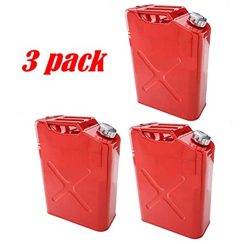 Alightup Portable EU 5 Gal 20L Gasoline Fuel Oil Water Petrol Diesel Storage Emergency Backup Jerry Can Cold-rolled Plate Petrol Diesel Can Gasoline Bucket Red 1/2/3/5 PACK