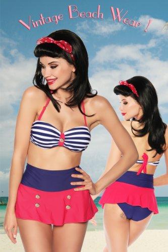 Marine Bikini Vintage Bandeau Bikini im Marinelook Retro Bikini blau/rot/weiß