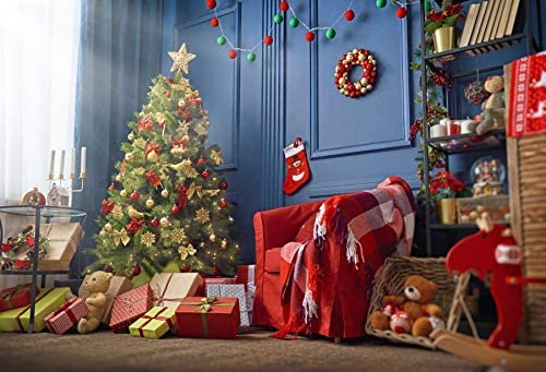 CdHBH 6x8ft Magic Christmas Snowy Eucalyptus Road Landscape Childrens Birthday Photograph Background Cloth Studio Studio Photo Photography Props Festival Venue Party Arrangement