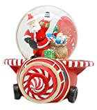 Lightahead 100MM Santa Musical Water Snow Ball playing tune & Rotating Table Top Decoration for Christmas(Santa on Plane)