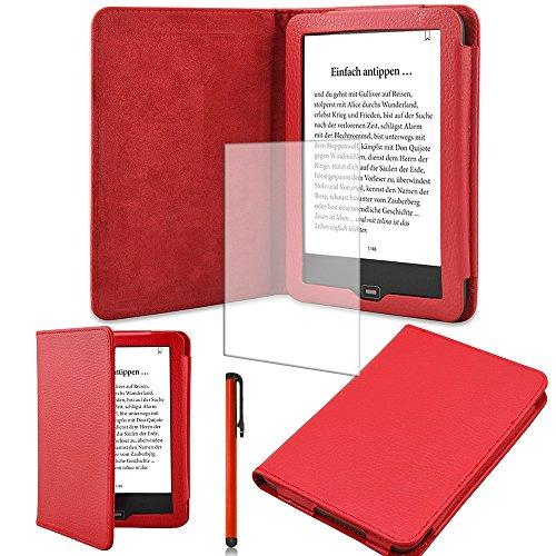 Schutz-Hülle-Tasche-Cover-Tolino-Vision-2 und 3-HD-Ebook-Case in Rot mit Ruhemodus und praktischem Magnetverschluss und passgenauer Display-Schutz-Folie Markenqualität und Pen von UC Express®