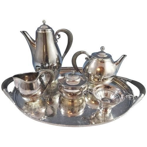 Piece Sterling Tea Service (GEORG JENSEN - WENDEL STERLING SILVER TEA SET 5-PIECE #45 W/ TRAY)