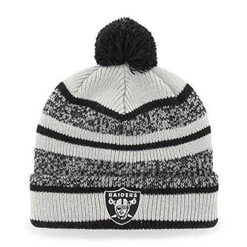 NFL Oakland Raiders Huset OTS Cuff Knit Cap with Pom, Black, One Size