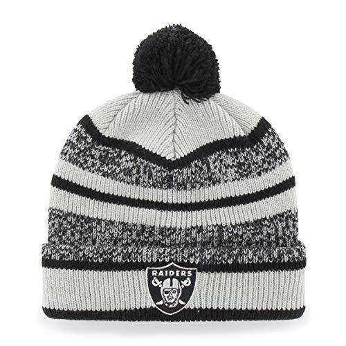 5fa28f13 NFL Oakland Raiders Huset OTS Cuff Knit Cap with Pom, Black, One Size