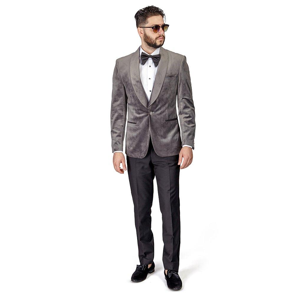 AZAR MAN Slim Fit 1 Button Velvet Shawl Lapel Tuxedo