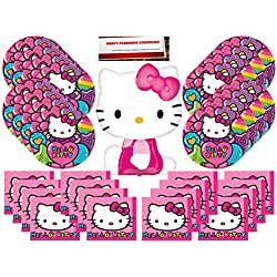 Hello Kitty Party Supplies Bundle Pack for 16 (Bonus 14 Inch Balloon Plus Party Planning Checklist by Mikes Super Store)