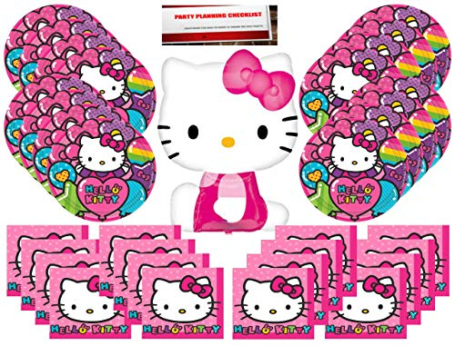 Hello Kitty Party Supplies Bundle Pack for 16 (Bonus 14 Inch Balloon Plus Party Planning Checklist by Mikes Super Store) (Hello Kitty Balloons Baby)