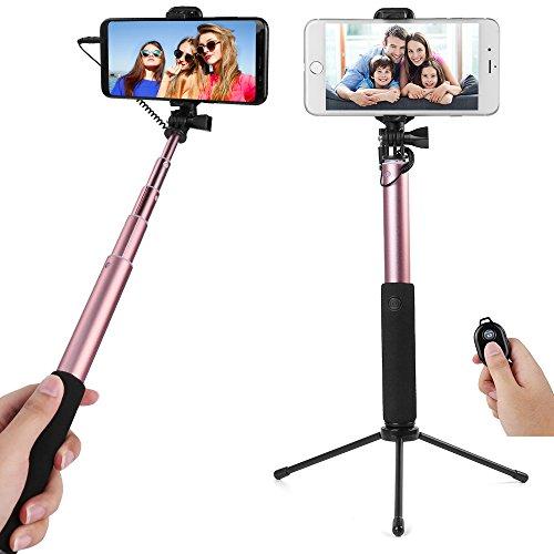 Adjustable Seflie Stick (Rose) Asus Zenfone AR, 3 Zoom, Pegasus 3S, 4S, 3S Max, Live, 4, 4 Pro, 4 Selfie, 4 Max, 4 Selfie Lite, V, Max Plus M1, 5, 5Q, Max Pro M1, 5Z, Live L1, ROG Phone, Max M1