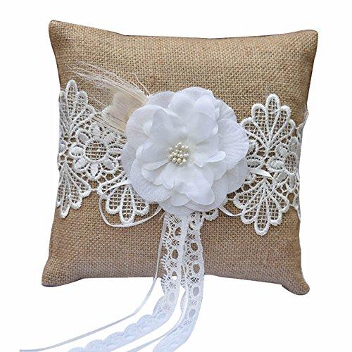 Band Pillow (Awtlife Burlap Wedding Ring Pillow Wedding flower lace Cushion Bearer 7 Inch x 7 Inch)