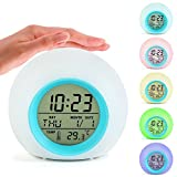 CIGERA Color Changing Digital Alarm Clock for Kids with 7 Different Rings,Calendar,Indoor Temperature and Soft Wake-Up Light,Nice Gift and Decor for Kids Bedroom,White+Blue