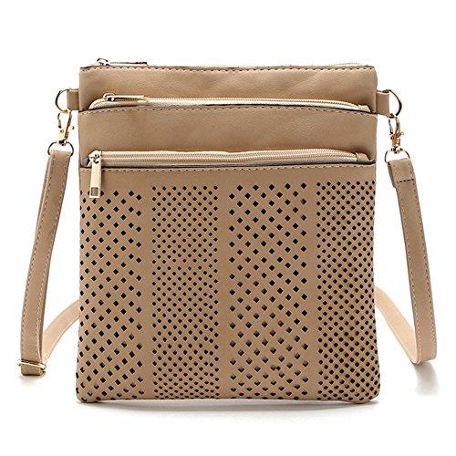 Medium Crossover (DukeTea Multi Pockets Medium Crossbody Bag, Crossover Shoulder Purse Handbag for Women Girls Khaki)