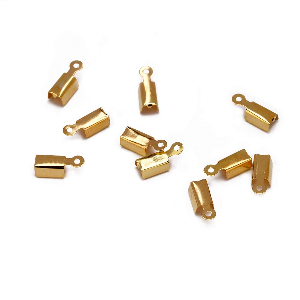 Forise 400pcs Crimp Cord Ends Antique Bronze//Gold//Silver//Gun Black//Rhodium Leather Cord Ends Caps Clasps Connectors for Jewelry Making/ Necklaces Bracelets