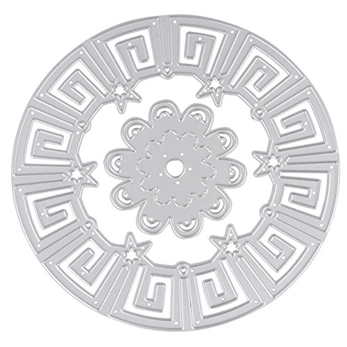 Star Circle Cutting Die Stencil, Carbon Steel Star Circle Template, Pattern Cutting Edge Stencil Decorating Cutting Board for DIY Scrapbook Embossing Paper Card Handicrafts