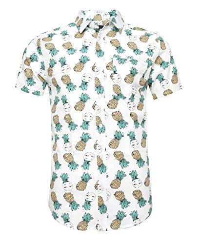 AVANZADA Men's Pineapple Button Down Short Sleeve Casual Hawaiian ShirtWhite (Crazy Hawaiian Shirts)