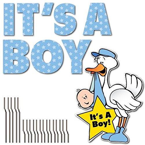 Stork Letter - VictoryStore Yard Sign Outdoor Lawn Decorations: It's A Boy Yard Card Letters & Stork Baby Announcement, Set of 9 with Stakes