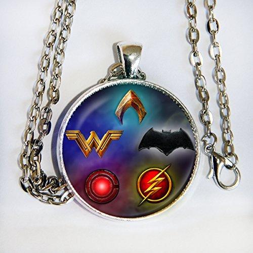 Justice League 2017 movie inspired - Batman, WW, Cyborg, Flash, Aquaman - pendant necklace - -