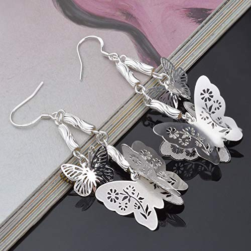 Jewelry Charm 925 Silver Butterfly Pendant Woman Hook Earring Lover Gift 1 Pair