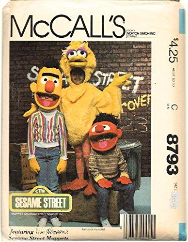 McCall's 8793 Sewing Pattern Sesame Street Costumes Big Bird Bert & Ernie Size Medium 6-8 -