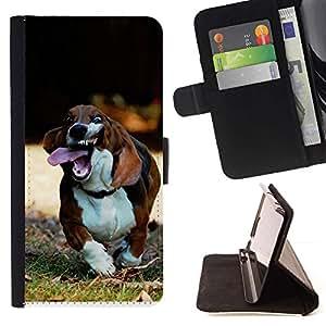 Momo Phone Case / Flip Funda de Cuero Case Cover - Basset Hound Dog Pet Canino Beagle; - Sony Xperia M5