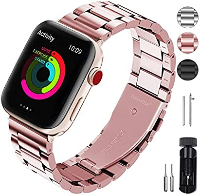 Fullmosa Stainless Steel Metal Bands Compatible with Apple Watch Series 5 Series 4 40mm 44mm / Series 3 2 1 38mm 42mm for Women Men, Rose Red