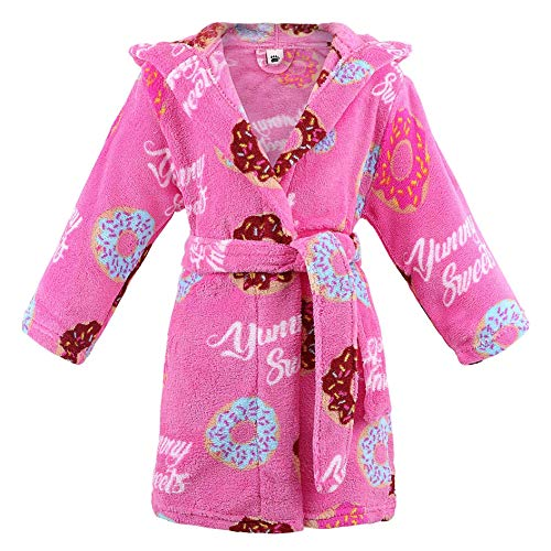 Girls Robe Hooded Printed Flannel Fleece Bathrobe with Side Pockets,Donut,M]()