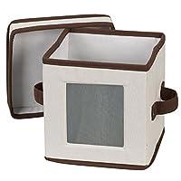 Caja de almacenamiento de vajillas con tapa y manijas Essentials Essentials 530 | Contenedor de almacenamiento para platos de platillo pequeño | Lona natural con ribete marrón