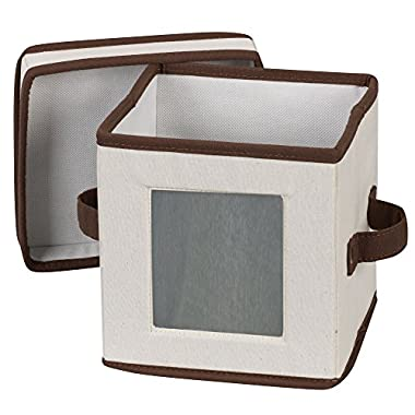 Household Essentials 530 Dinnerware Storage Box with Lid and Handles | Storage Bin for Small Saucer Plates | Natural Canvas with Brown Trim
