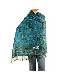 """Falari Women's Woven Pashmina Shawl Wrap Scarf 80"""" X 27"""" (Turquoise)"""