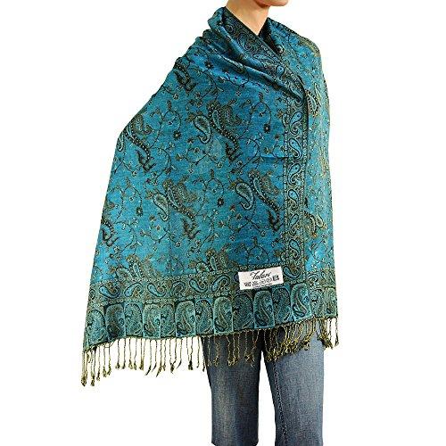 Falari Women's Woven Pashmina Shawl Wrap Scarf 80' X 27' Turquoise