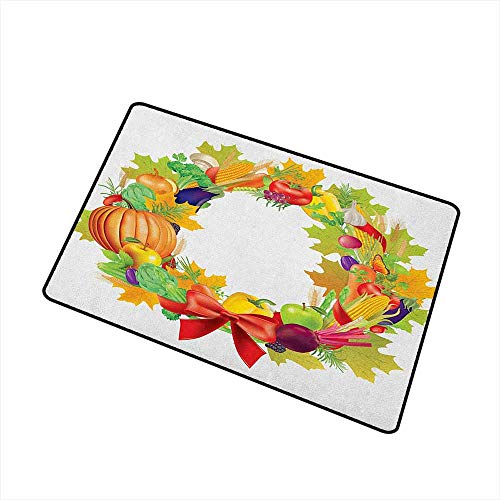 Sillgt Harvest Crystal Velvet Doormat Healhy Dinner Ingredients Harvest Wreath with Red Bowknot Fresh Organic Options with No-Slip Backing 20