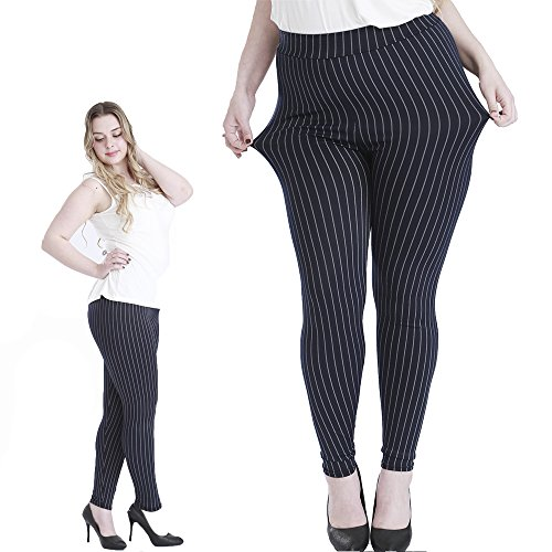 Light-control Athleisure Women Plus Size Leggings - High Waist - Vertical Stripes Design 1 Pack (2XL, Vertical Stripes)