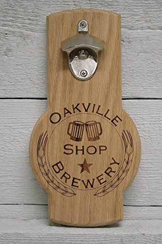 Wall mounted beer bottle opener personalized custom engraved logo. Great gift, for home bar, restaurant, (Logo Wall Mounted Bottle Opener)